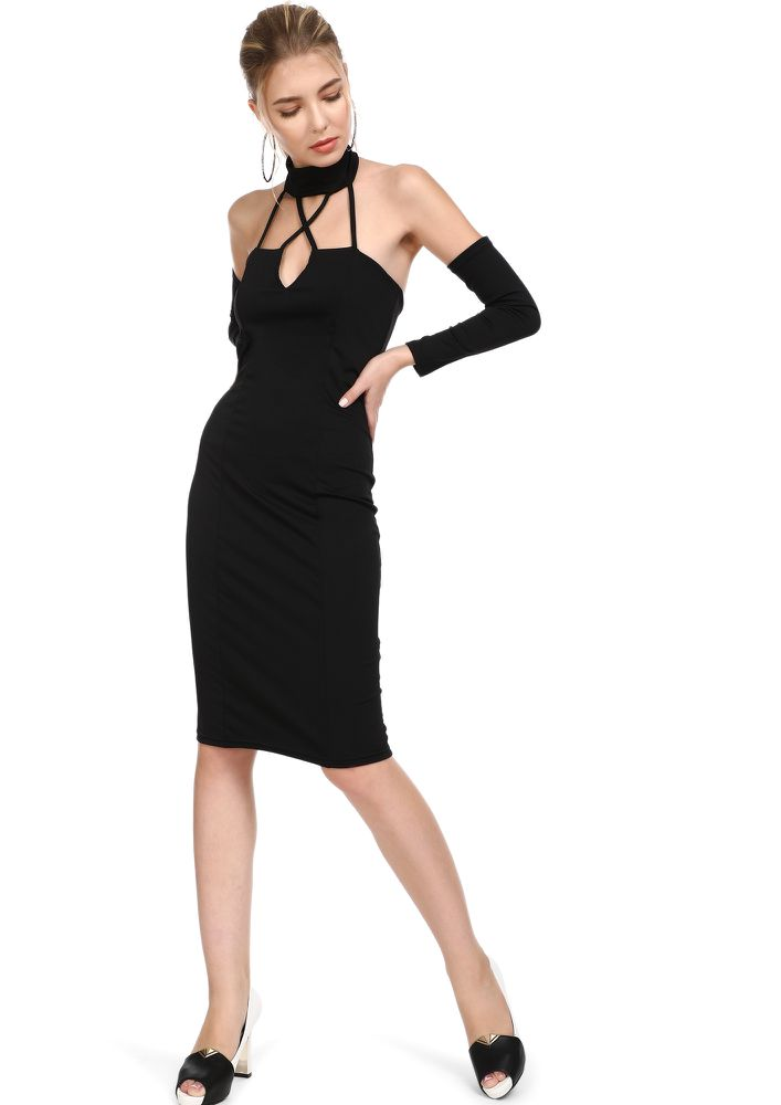 LIKE A BABE BLACK PENCIL DRESS