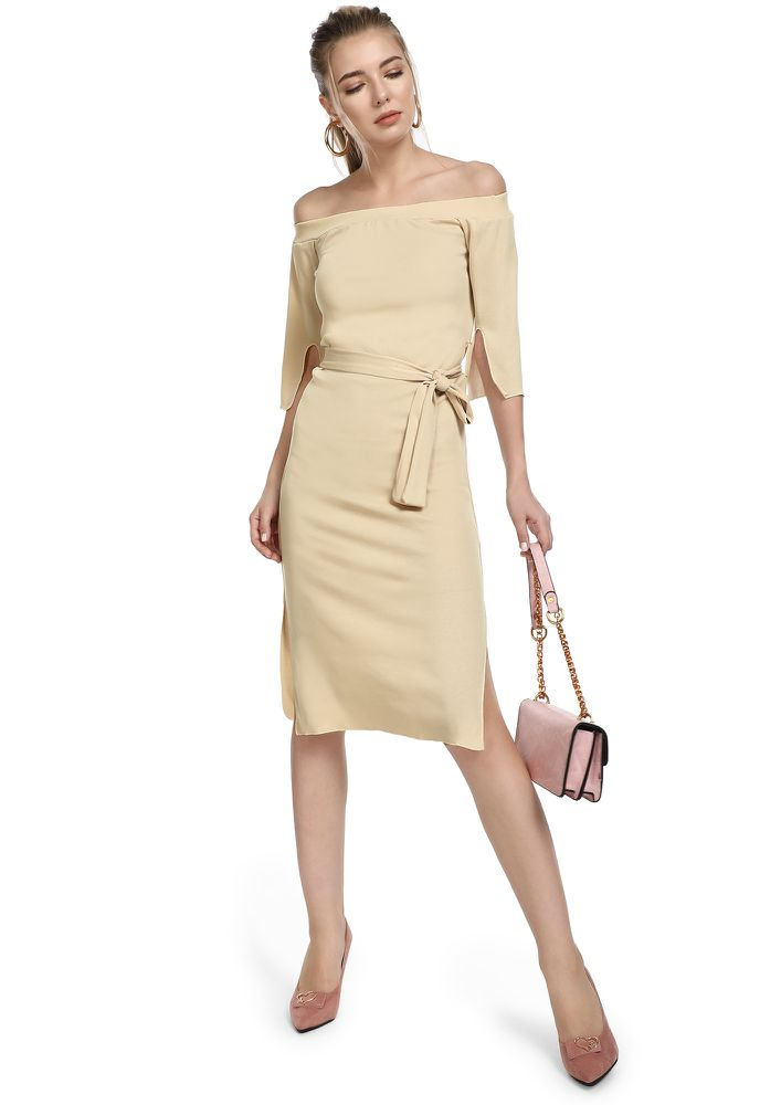 CONSIDER THE MIDPOINT BEIGE OFF-SHOULDER DRESS