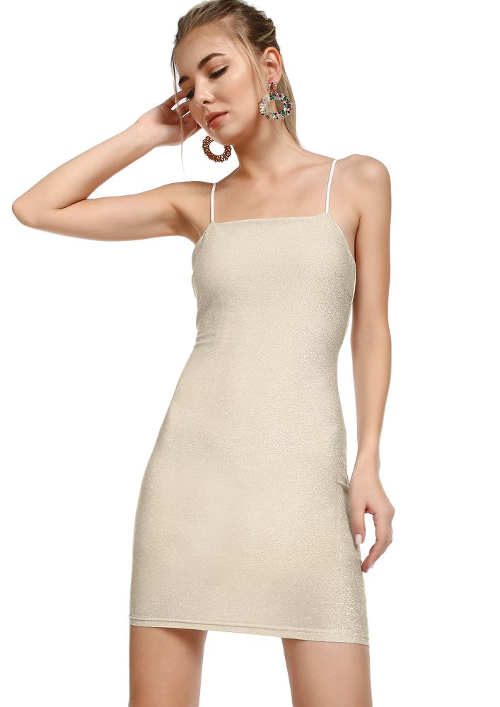 LIFE IS A PARTY CHAMPAGNE BODYCON DRESS