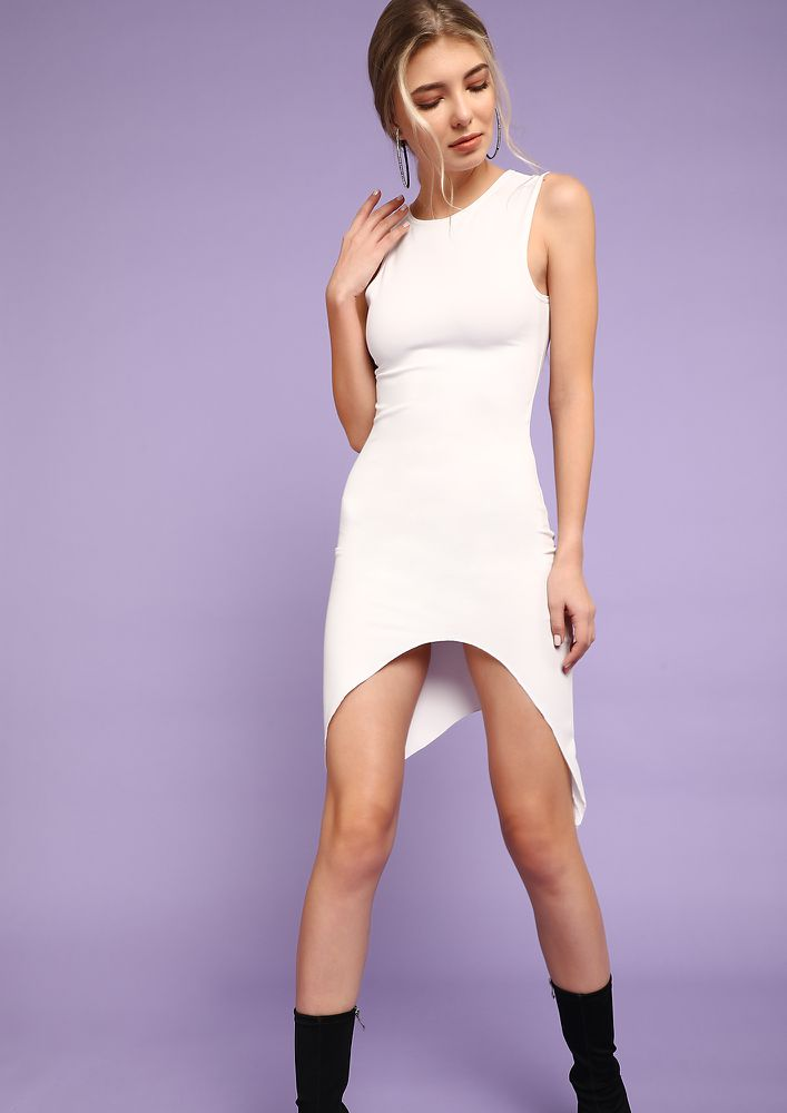 HAPPY DECISIONS WHITE ASYMMETRICAL DRESS