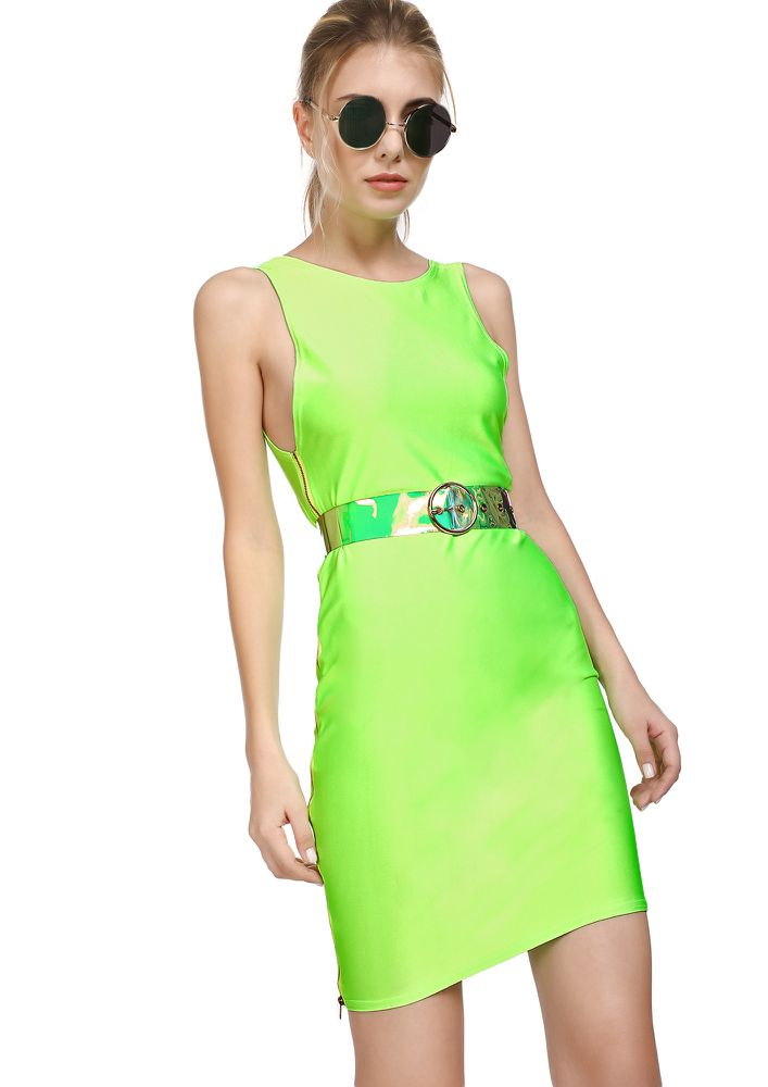 HAPPY EVENINGS NEON GREEN BODYCON DRESS