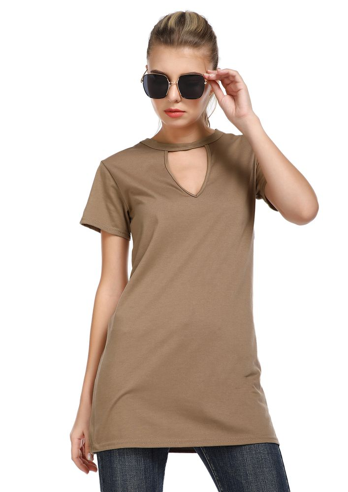 COMFORT IS THE KEY BEIGE TUNIC TOP
