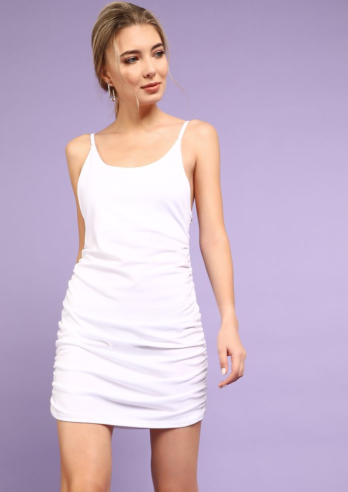 CAN YOU GATHER AROUND WHITE MINI DRESS