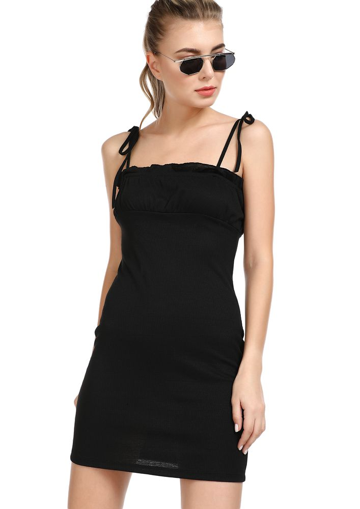 COMING BACK TO YOU BLACK MINI DRESS