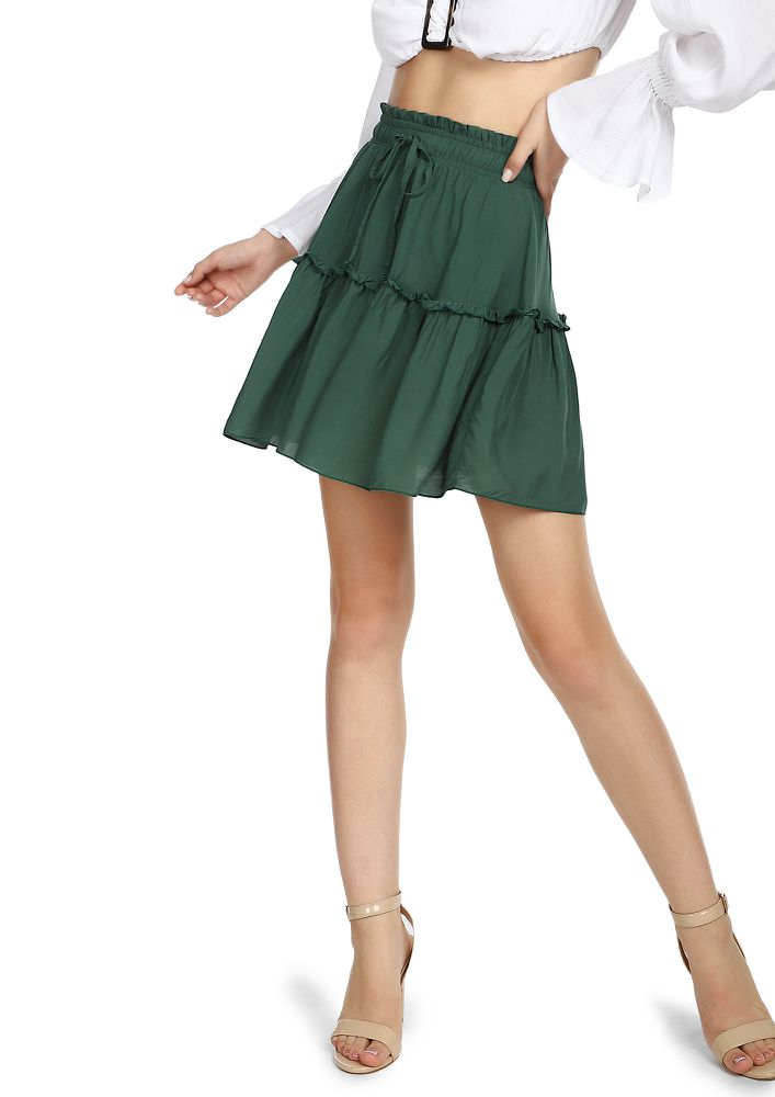 LET YOUR LOVE FLOW  GREEN SKATER SKIRT