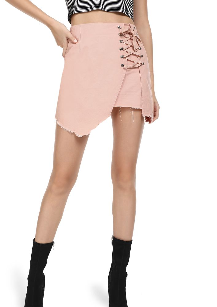 GOING LACES ABOUT YOU PINK MINI SKIRT