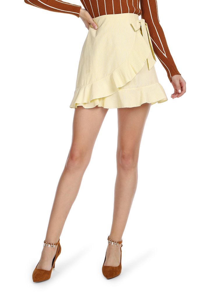 IT'S ALL ABOUT US BEIGE WRAP SKIRT