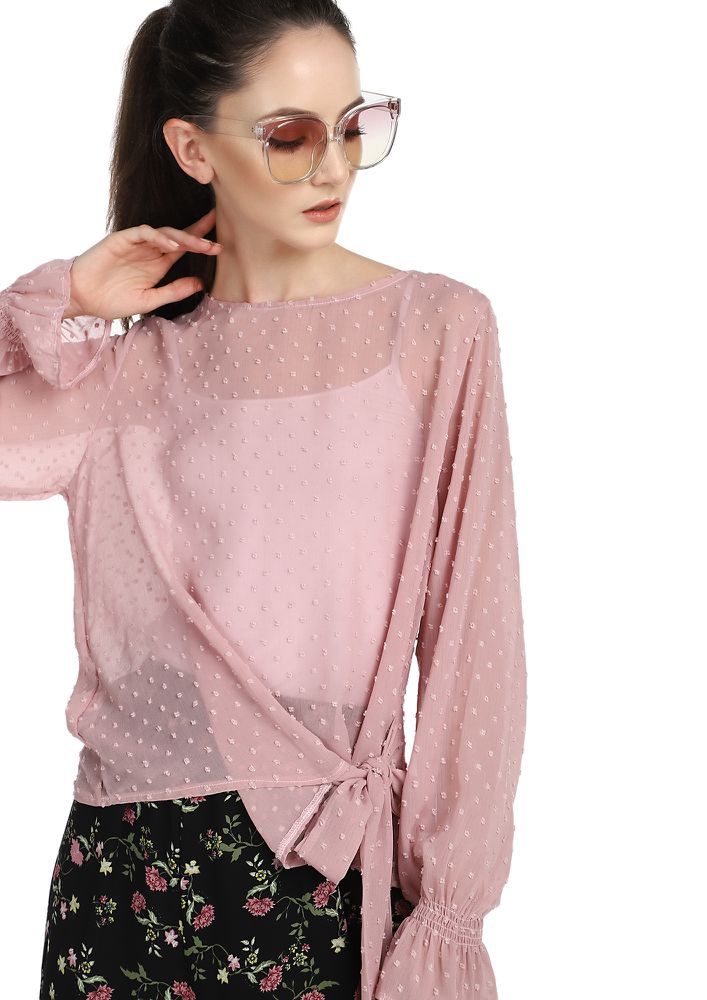 FOUND THE DOBBY DOTS PASTEL MAUVE TOP