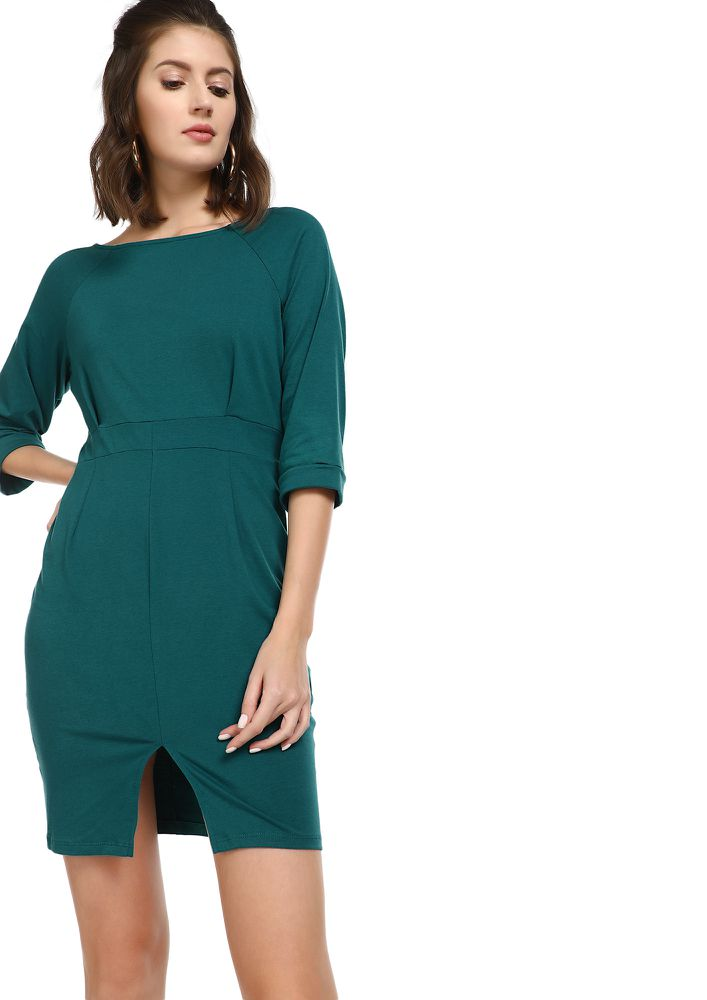 WAITING FOR WEEKEND TEAL MINI DRESS