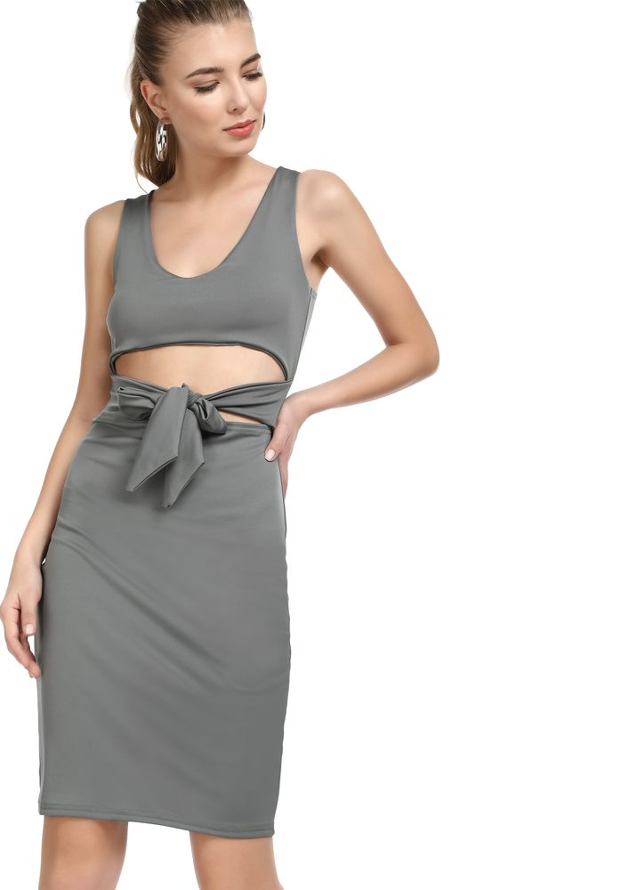 THE MIDDLE GROUND GREY BODYCON