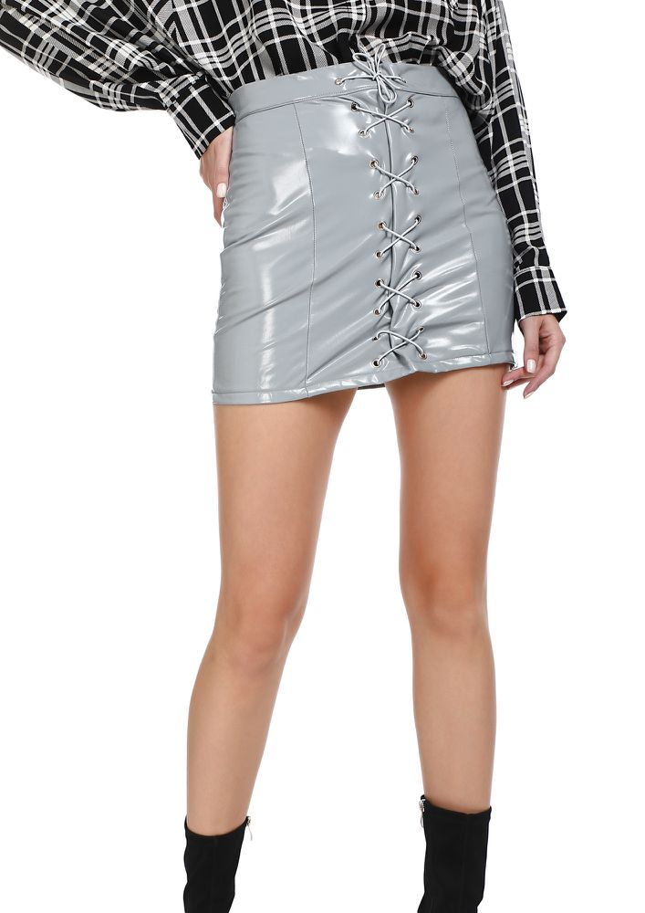 PATENT YOUR TRUTH GREY MINI SKIRT