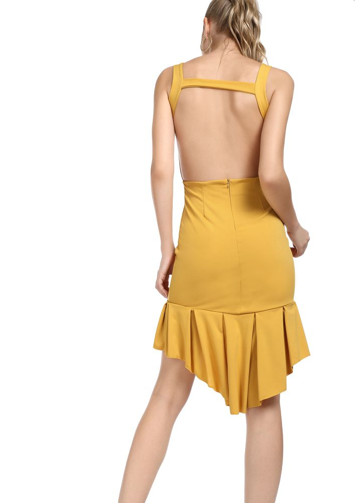 SOME FRILLS AND THRILLS YELLOW ASYMMETRICAL DRESS