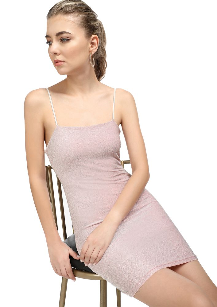 LIFE IS A PARTY BABY PINK BODYCON DRESS