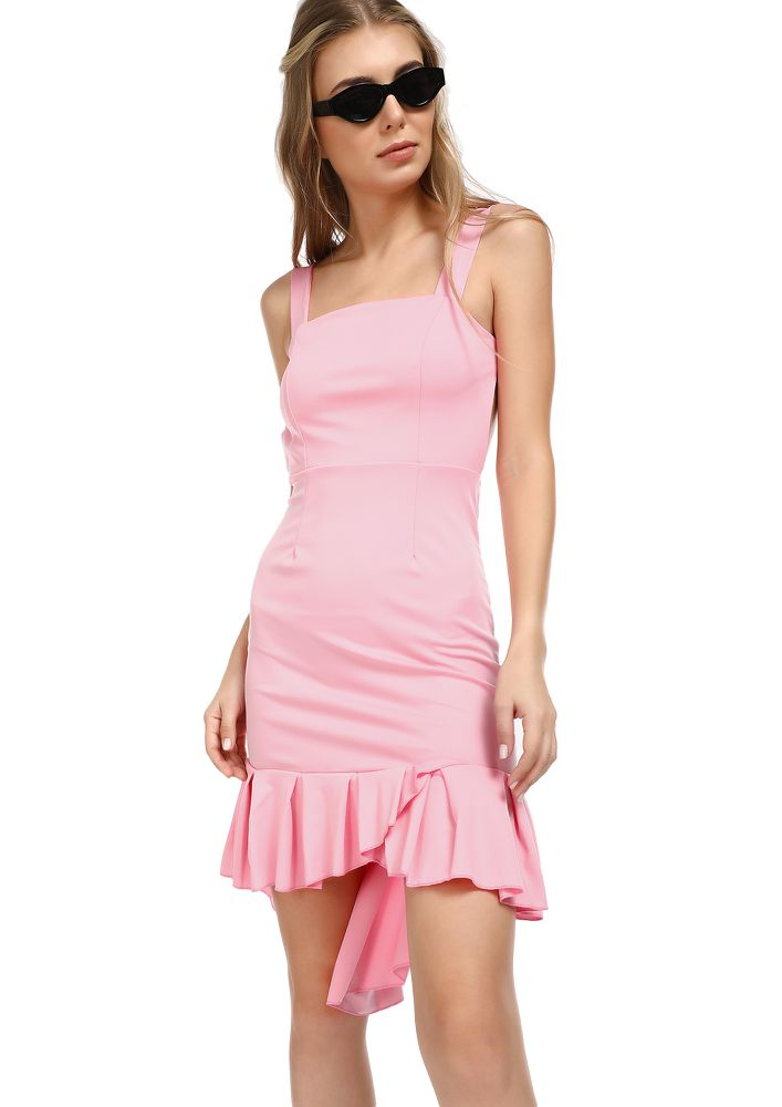 SOME FRILLS AND THRILLS PINK ASYMMETRICAL DRESS