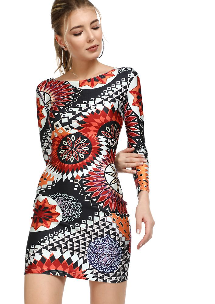 HAPPINESS IS YOU MULTICOLOR BODYCON DRESS