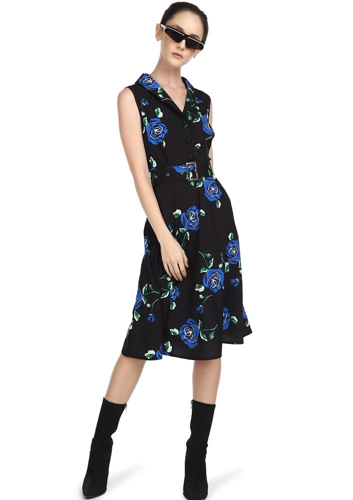 ALL BUCKLED UP BLUE FLORAL MIDI DRESS