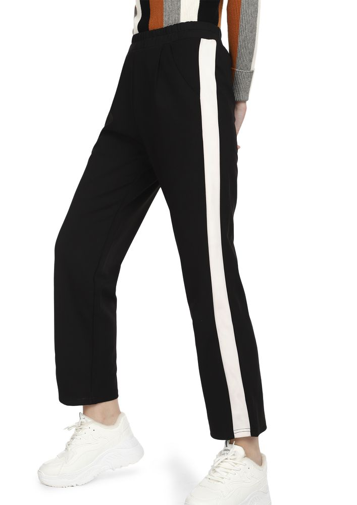 FOLLOWING THAT STRAIGHT LINE BLACK TRACK TROUSERS