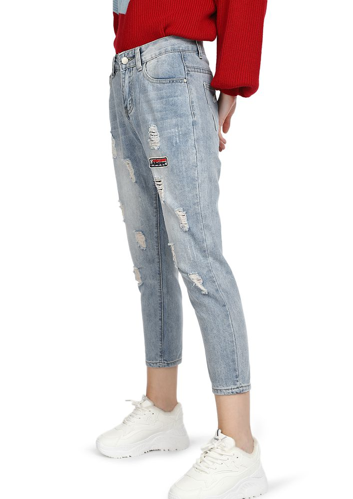 LITTLE DISTRESSED BLUE CROPPED JEANS