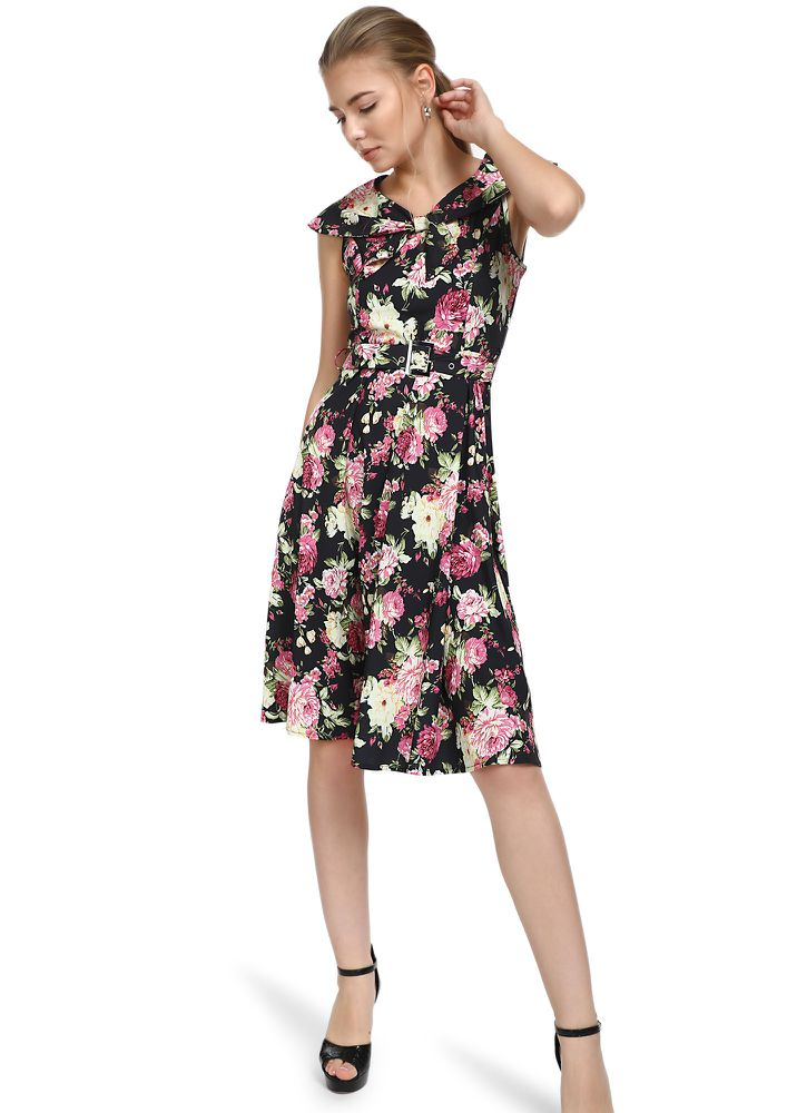 PRETTY BUNCH BLACK FLORAL MIDI DRESS
