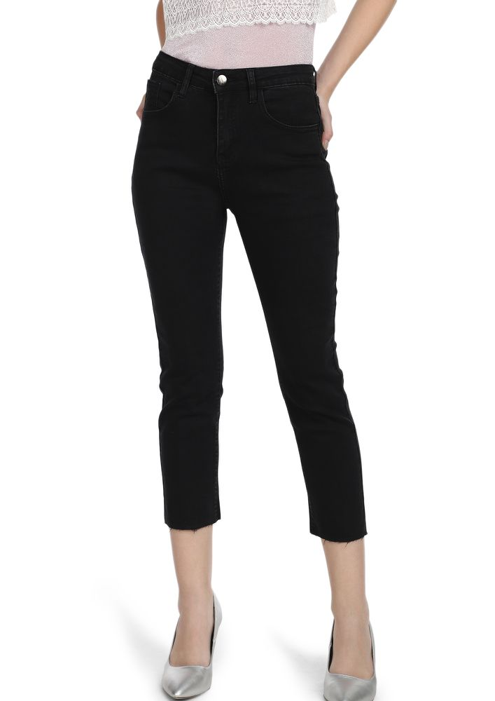 CHOPPING IT OFF BLACK CROPPED JEANS