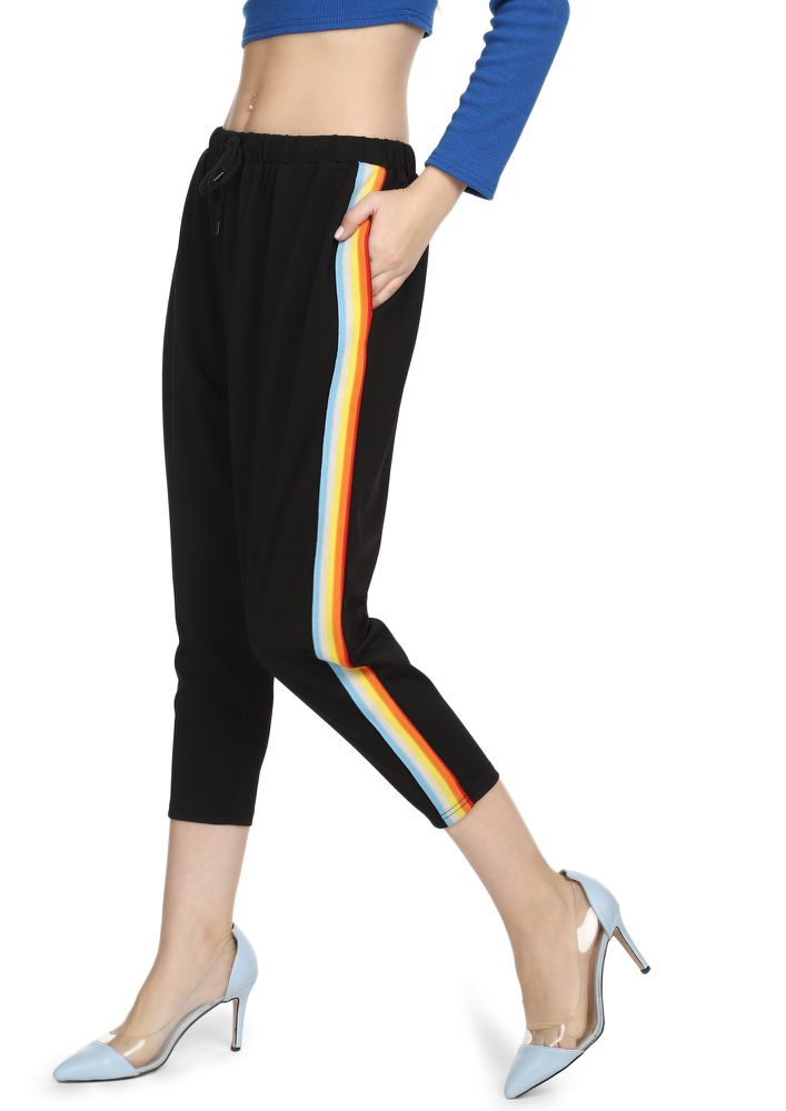 ONLY SIDES NOT SLIDES BLACK CROPPED TRACK TROUSERS