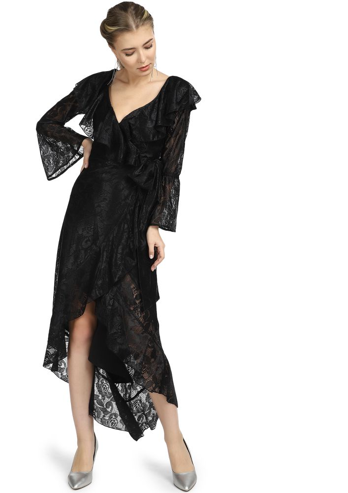 LET'S WRAP THINGS BLACK WRAP DRESS