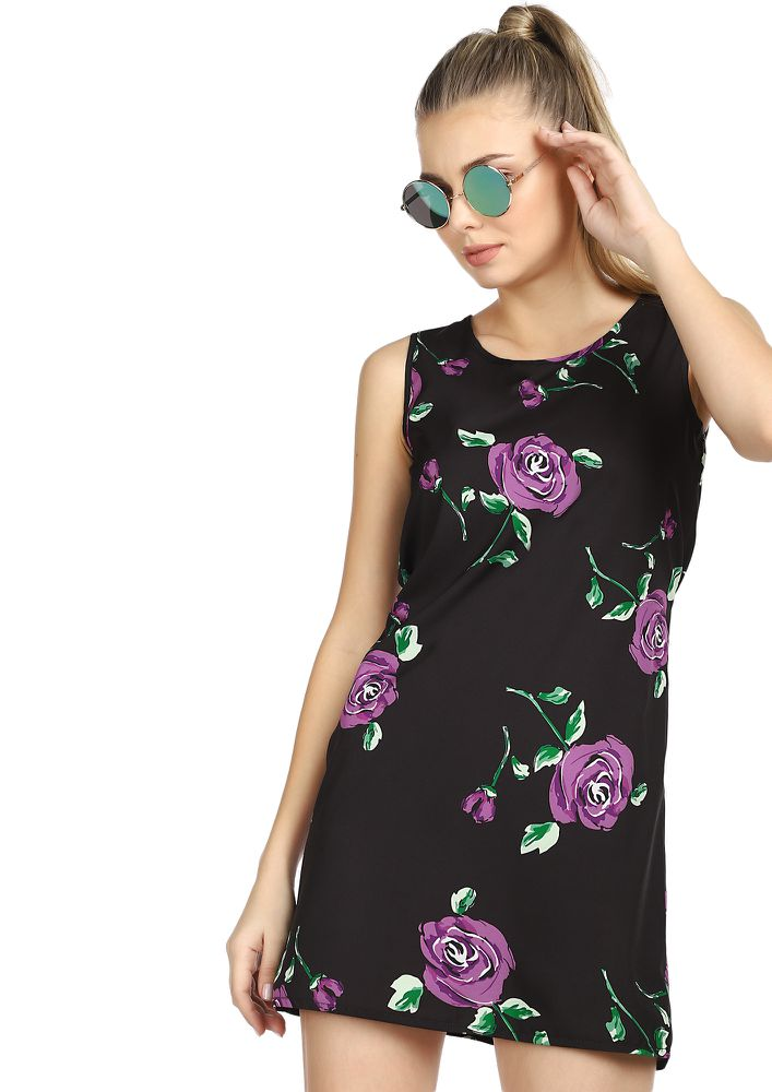 MY FLORAL STORY BLACK TUNIC DRESS