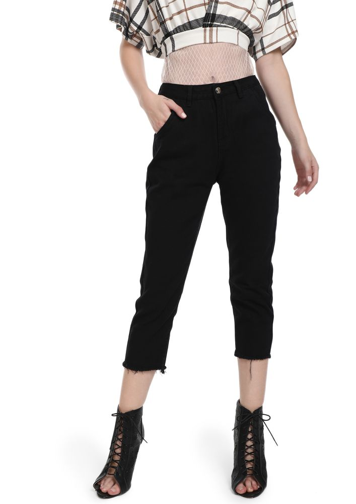 ALTER YOUR THOUGHTS BLACK CROPPED JEANS
