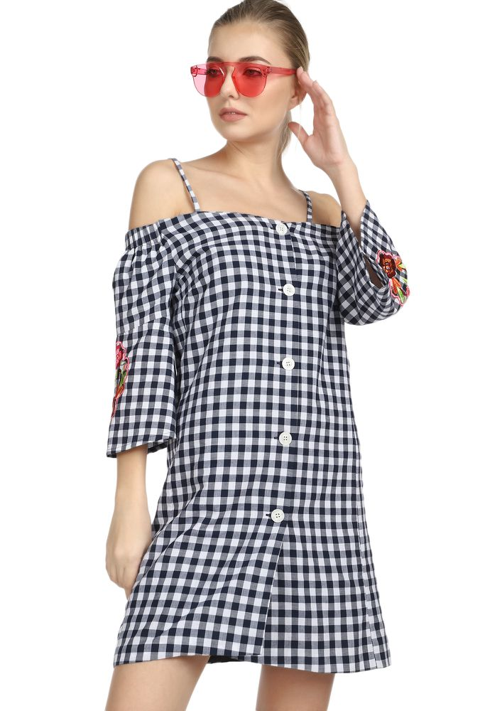 MUCH COMFORTABLE NAVY GINGHAM SHIFT DRESS