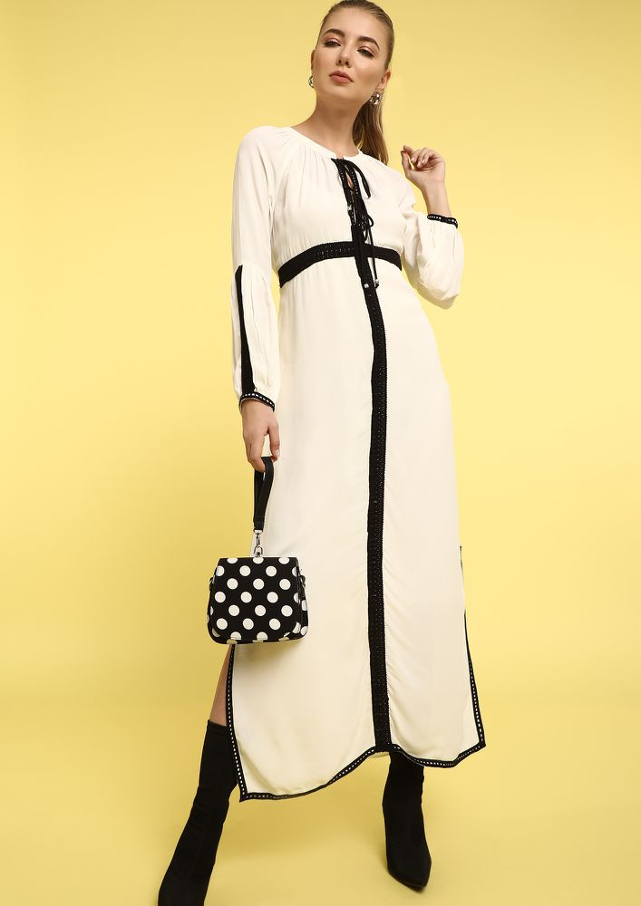NUN OF YOUR BUSINESS WHITE MAXI DRESS