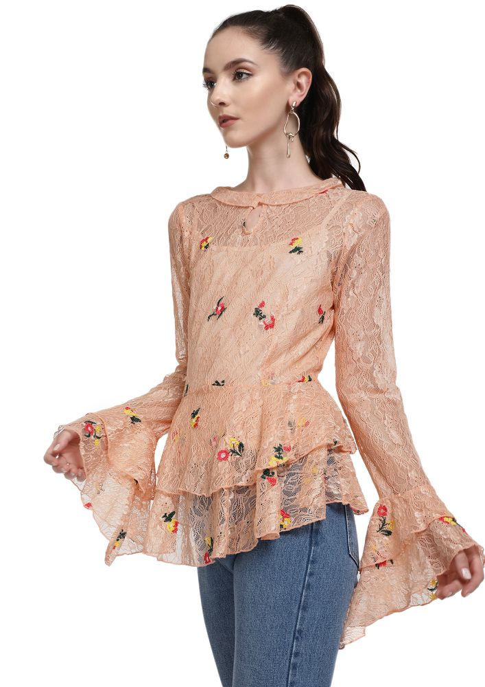 FREE FLOWING SPIRIT PEACH TUNIC TOP