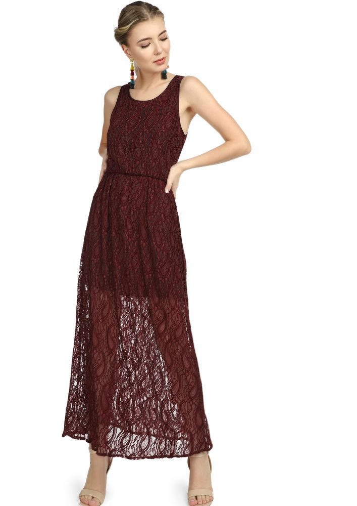 MY PRETTY BABY MAROON MAXI DRESS