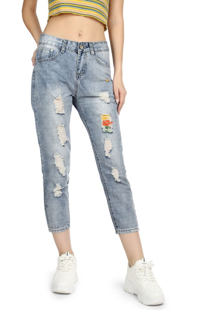 PLAYING COOL LIGHT BLUE CROPPED JEANS