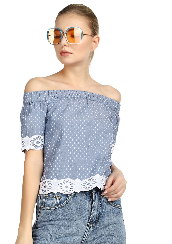 TALK TO MY SHOULDERS BLUE BARDOT TOP