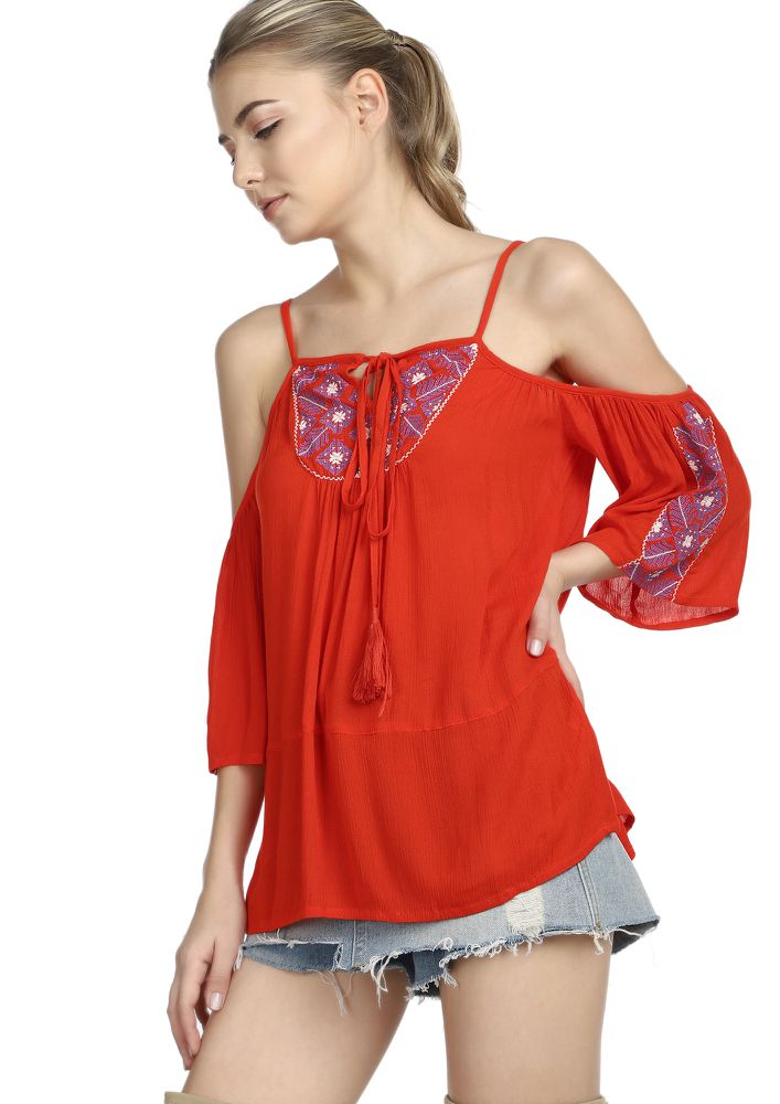 ONE GYPSY SOUL CORAL RED TUNIC TOP