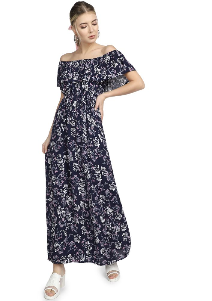 ALL MY PRETTY BUDS NAVY MAXI DRESS