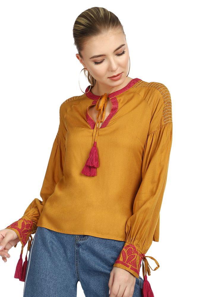PUMP IT UP MUSTARD YELLOW TOP