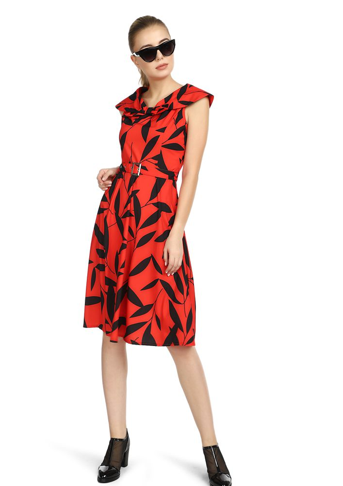 DON'T LEAF ME ALONE RED MIDI DRESS