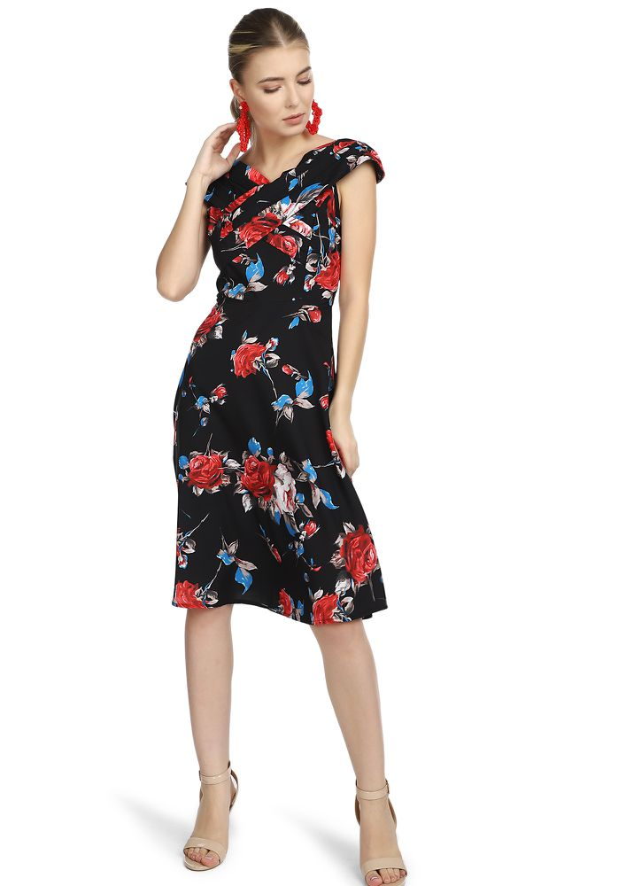 FLOWER ME NOW BLACK MIDI DRESS