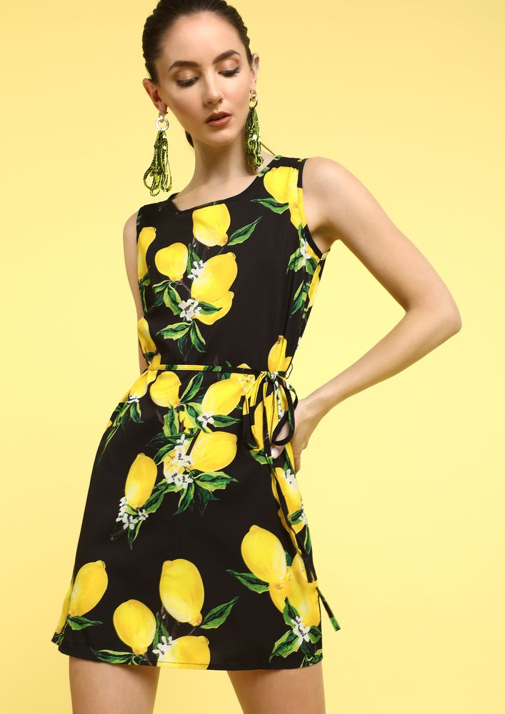 LIFE  LEMONS BLACK SHIFT DRESS
