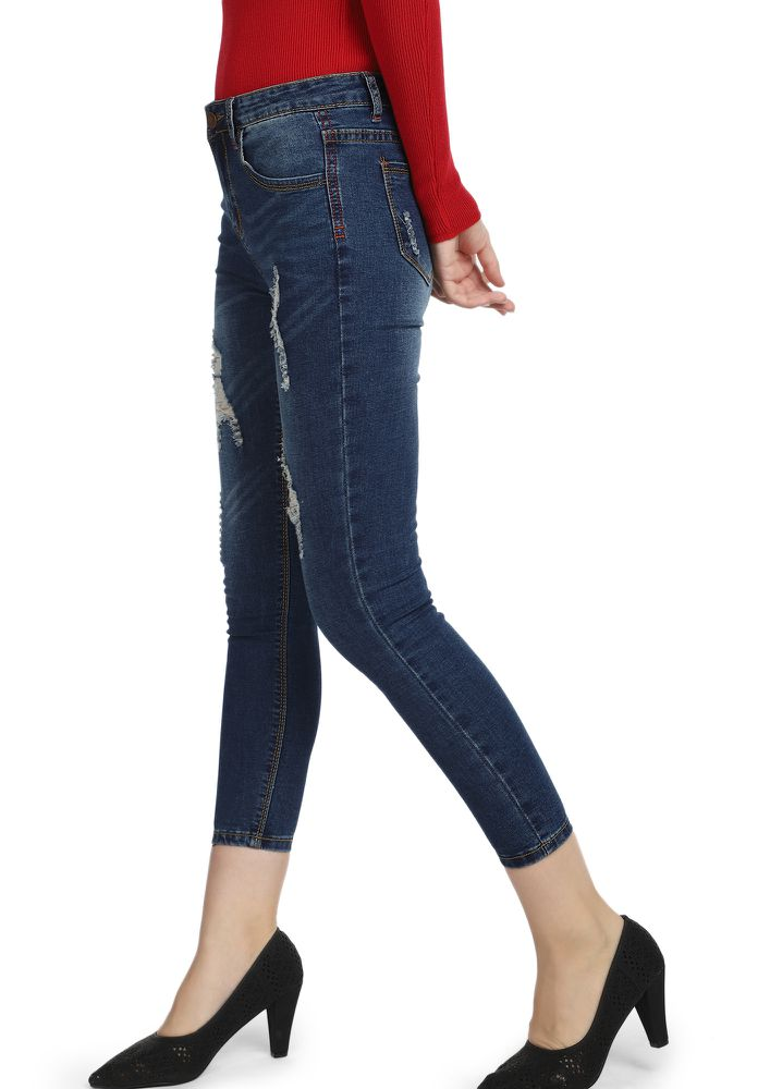 BRB AFTER DE-STRESSING DARK BLUE CROPPED JEANS