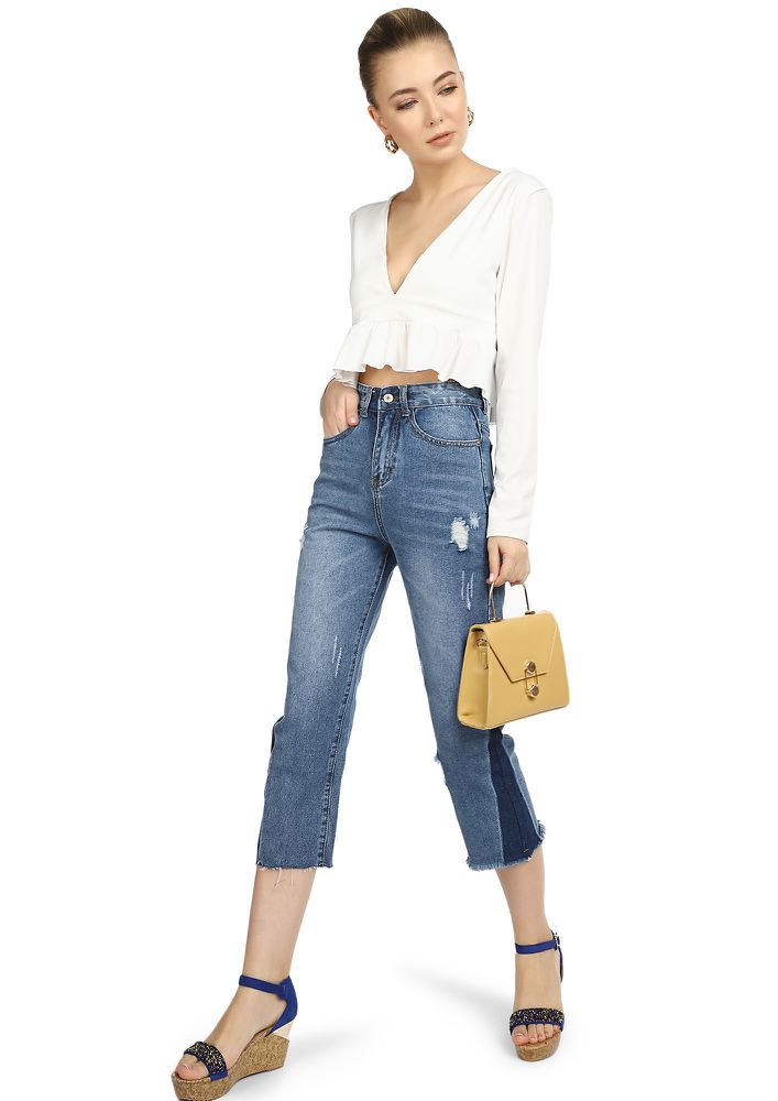 ALL EYES ON HIGH-STREET BLUE CROPPED JEANS