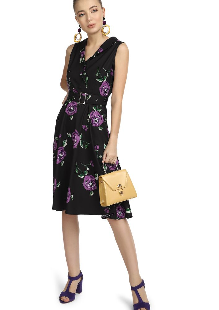 All Buckled Up PURPLE Floral Midi Dress