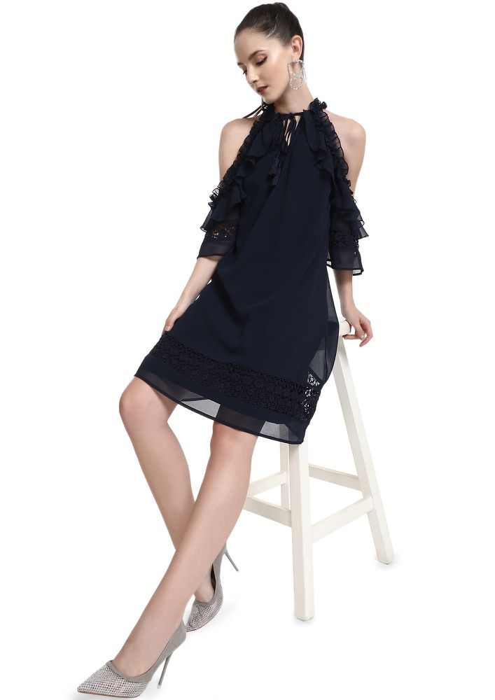 SWEAR BY MY RUFFLES NAVY BLUE SHIFT DRESS