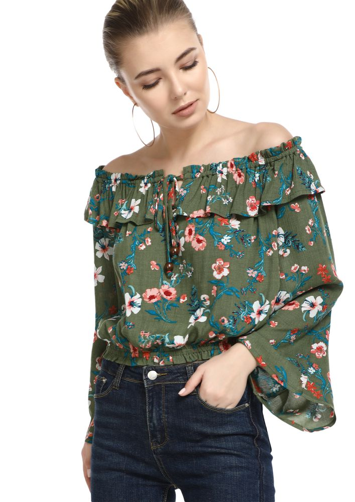 SUNSHINE ON MY SHOULDERS GREEN BARDOT TOP