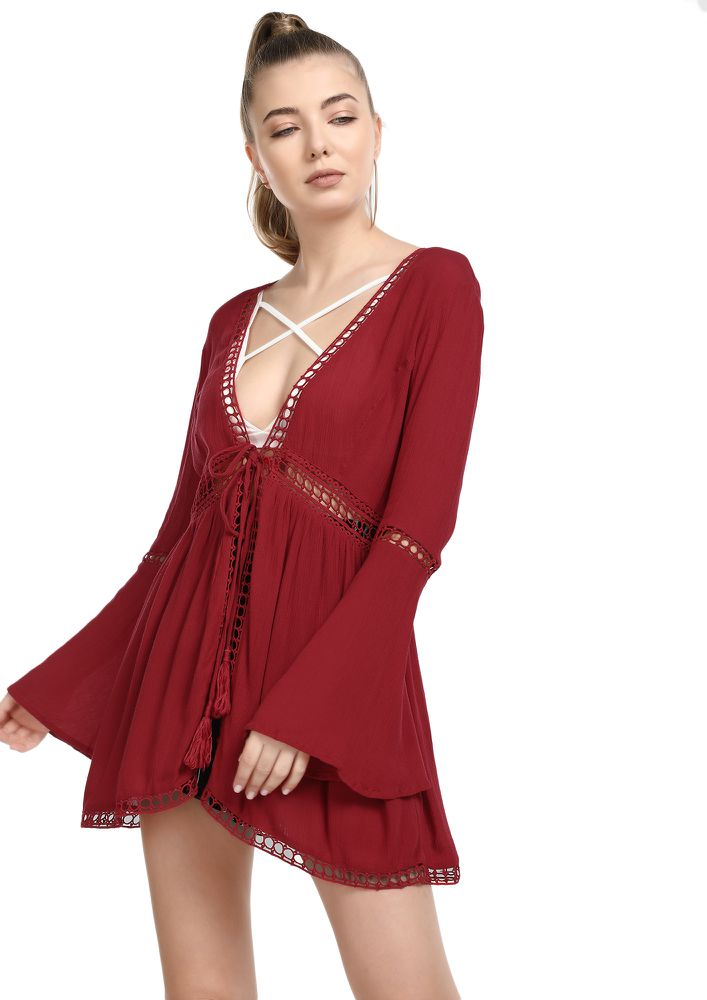 SUCH A BAY GIRL MAROON COVER UP