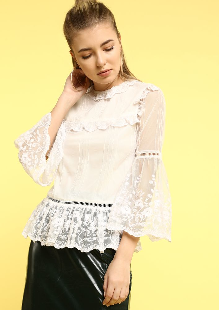 RUFFLED DREAMS WHITE TOP