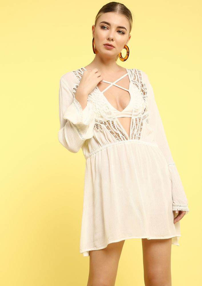 BEACH VIBES ONLY WHITE COVER UP