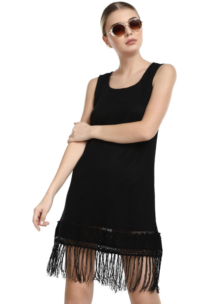 LET'S GO AROUND BLACK SHIFT DRESS