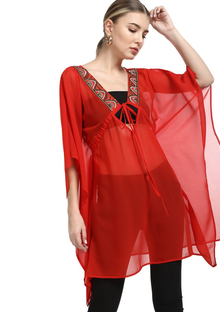 STUDDED BY THE SHORE RED COVER UP